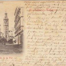 Postales: 5 SELLOS PELON. TARJETA POSTAL RECUERDO DE VALENCIA, CALLE DE LA PAZ. CIRCULADA EN 1900. Lote 55150657