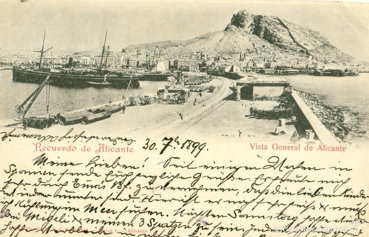 RECUERDO DE ALICANTE. CIRCULADA EN 1899 CON DOS PELONES. RARA. (Postales - España - Comunidad Valenciana Antigua (hasta 1939))