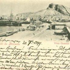 Postales: RECUERDO DE ALICANTE. CIRCULADA EN 1899 CON DOS PELONES. RARA.. Lote 56639502