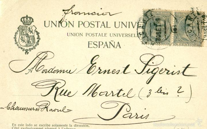Postales: RECUERDO DE ALICANTE. CIRCULADA EN 1899 CON DOS PELONES. RARA. - Foto 2 - 56639502