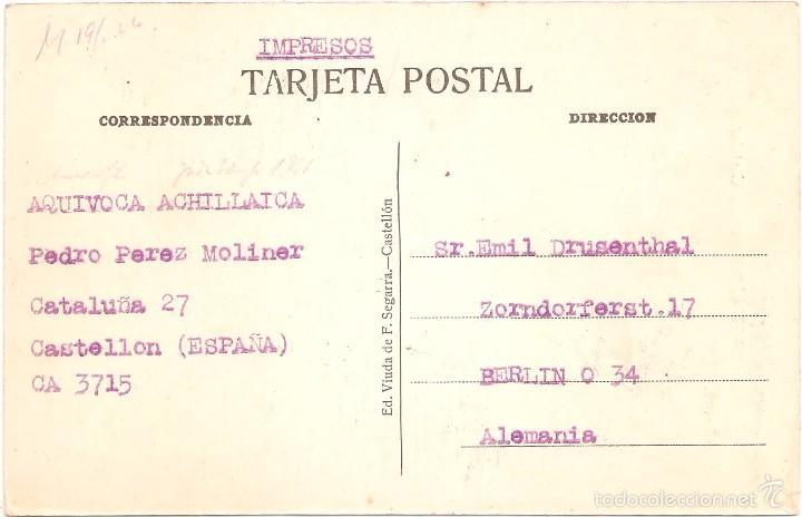 Postales: CASTELLÓN PLAZA CASTELAR 1926 - Foto 2 - 56964900