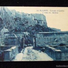 Postales: ANTIGUA POSTAL DE ALICANTE. Nº 53 ENTRADA AL CASTILLO. L. ROISIN. AÑOS 20. Lote 57880334
