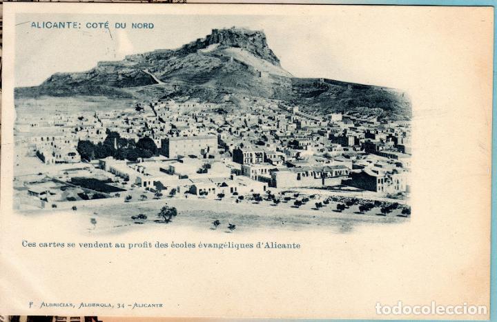 POSTAL DE ALICANTE COSTA NORTE FRANCISCO ALBRICIAS SE VENDEN A BENEFICIO DE LAS ESCUELAS EVANGÉLICAS (Postales - España - Comunidad Valenciana Antigua (hasta 1939))