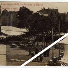 Postales: MAGNIFICA POSTAL FOTOGRAFICA - VINAROZ (CASTELLON) - CAFÉ DE ESPAÑA Y FERIA - AMBIENTADA. Lote 50313053