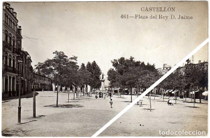 MAGNIFICA POSTAL FOTOGRAFICA - CASTELLON - PLAZA DEL REY D. JAIME - AMBIENTADA (Postales - España - Comunidad Valenciana Antigua (hasta 1939))