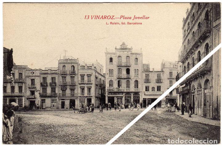 MAGNIFICA POSTAL - VINAROZ (CASTELLON) - PLAZA JOVELLAR - MUY AMBIENTADA (Postales - España - Comunidad Valenciana Antigua (hasta 1939))