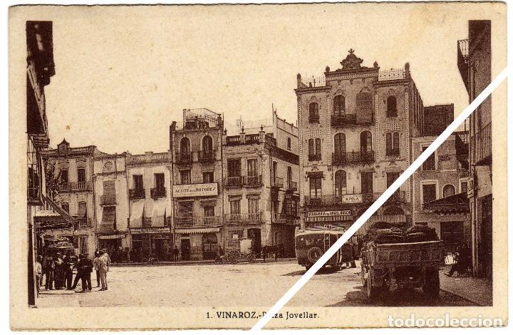 MAGNIFICA POSTAL - VINAROZ (CASTELLON) - PLAZA JOVELLAR - MUY AMBIENTADA - CAMIONES (Postales - España - Comunidad Valenciana Antigua (hasta 1939))