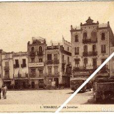 Postales: MAGNIFICA POSTAL - VINAROZ (CASTELLON) - PLAZA JOVELLAR - MUY AMBIENTADA - CAMIONES. Lote 50312907