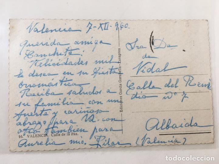 Postales: POSTAL TROQUELADA CALLE DE LA PAZ (VALENCIA) 1960 CURSADA - Foto 2 - 71818783
