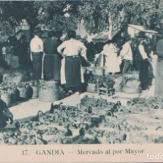Postales: GANDIA (VALENCIA) - MERCADO AL POR MAYOR. Lote 80413765