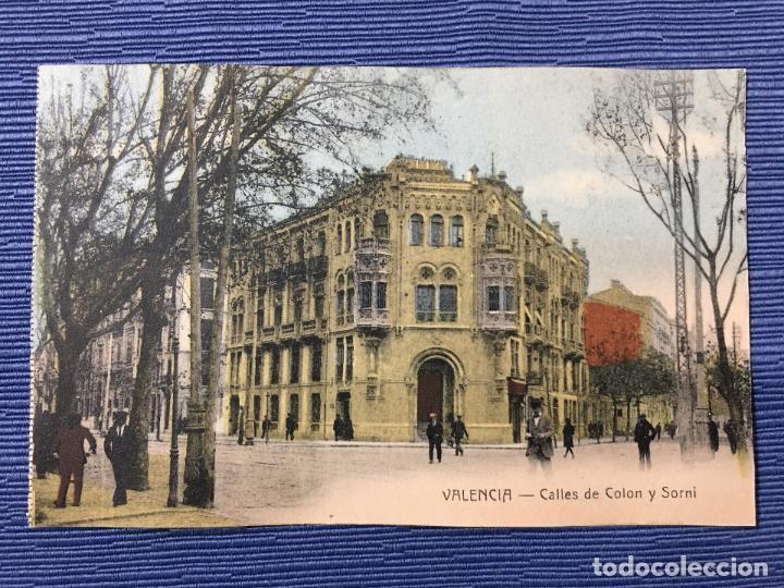 POSTAL COLOREADA VALENCIA - CALLES DE COLON Y SORNI (Postales - España - Comunidad Valenciana Moderna (desde 1940))