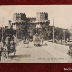 Postais: POSTAL DE VALENCIA, TORRES DE SERRANOS, CON TRAVIA Y CARROS, UNION POSTAL. Lote 89378204