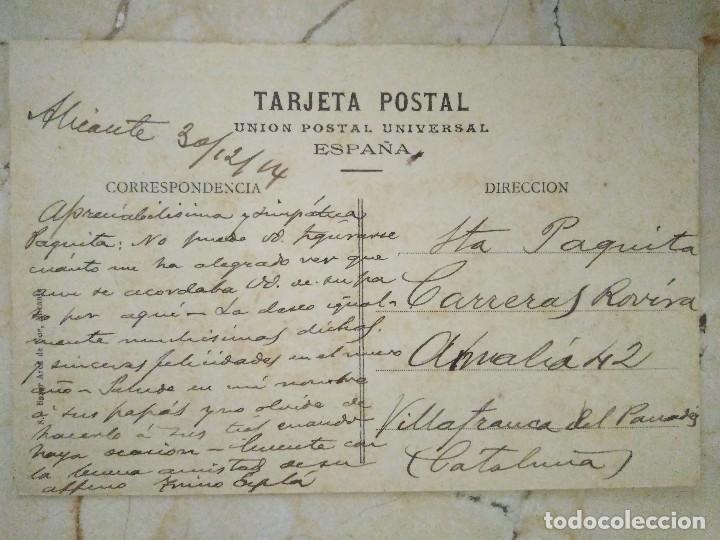 Postales: ALICANTE. BALNEARIO LA ALIANZA CIRCULADA 1914 - Foto 2 - 293531198