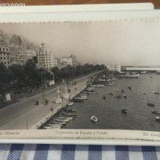 Postales: POSTAL ALICANTE. EXPLANADA DE ESPAÑA Y PUERTO. ED. ARRIBAS. ESCRITA 1951. Lote 96172863
