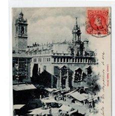 Postales: POSTAL VALENCIA. IGLESIA DE SAN JUAN. MERCADO. AÑO 1901. Lote 98890119