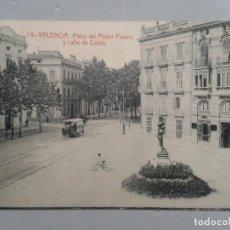 Postales: VALENCIA. PLAZA DEL PINTOR PINAZO Y CALLE DE COLÓN. TRANVÍA.. Lote 100397407