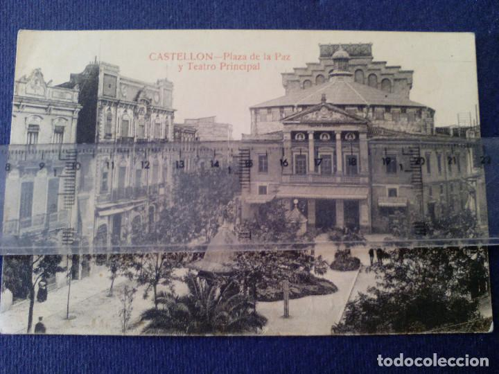 TARJETA POSTAL - CASTELLON DE LA PLANA - PLAZA DE LA PAZ Y TEATRO PRINCIPAL - L. ROISIN (Postales - España - Comunidad Valenciana Antigua (hasta 1939))