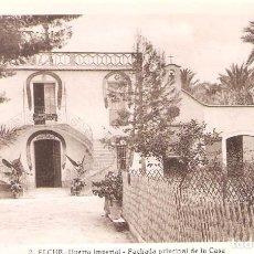 Postales: ELCHE.HUERTO IMPERIAL.FACHADA PRINCIPAL DE LA CASA.POSTAL MUY ANTIGUA NUEVA Y SIN CIRCULAR.SIN GASTO. Lote 104141343