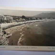 Postales: BENIDORM (ALICANTE). PLAYA DE LEVANTE Y HOTELES. CIRCULADA 1956.. Lote 105259358