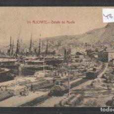 Postales: ALICANTE - 34 - DETALLE DEL MUELLE - FOTOTIPIA CASTAÑEIRA - VER REVERSO - (48.100). Lote 105836827