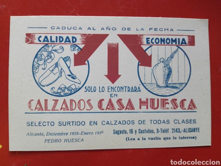 CASA HUESCA ALICANTE POSTAL PUBLICIDAD AÑOS 30 (Postales - España - Comunidad Valenciana Antigua (hasta 1939))