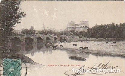 POSTAL VALENCIA TORRES DE SERRANOS REVERSO SIN PARTIR CIRCULADA PP XX PUBLI FARMACIA ALICANTE C-31 (Postales - España - Comunidad Valenciana Antigua (hasta 1939))