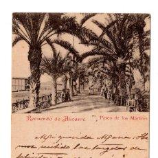 Postales: RECUERDO DE ALICANTE. PASEO DE LOS MÁRTIRES. PAPELERIA J J CARRATALÁ. CON SELLO ALFONSO XIII PELON.. Lote 110233515