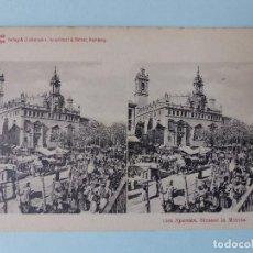 Postales: VALENCIA - STRASSE, MERCADO E IGLESIA DE SANTOS JUANES - POSTAL ESTEREOSCOPICA. Lote 110699067