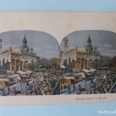 Postales: VALENCIA - EGLISE, MERCADO E IGLESIA DE SANTOS JUANES - POSTAL ESTEREOSCOPICA. Lote 110699139