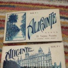 Postales: LOTE DOS LIBROS DE 20 POSTALES CADA UNO ALICANTE BLOK N°1 / BLOK N°2 L. ROISIN DOBLE TONO BLEU . Lote 114357923
