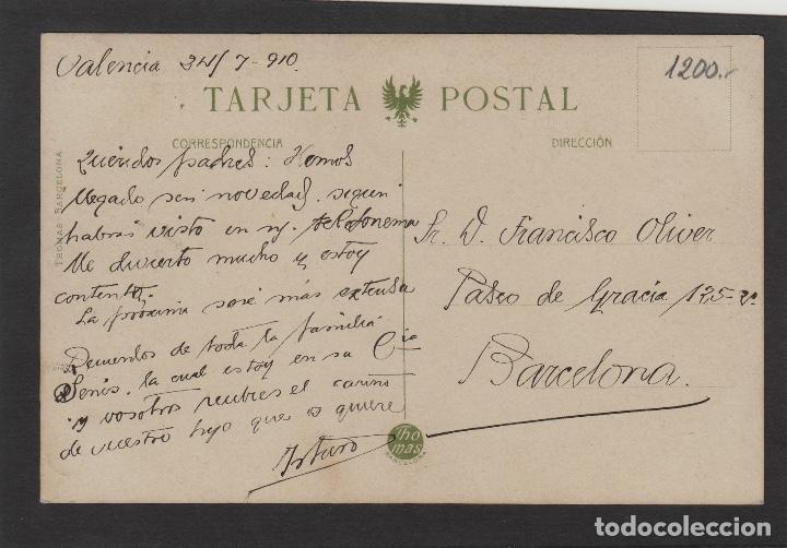 Postales: TARJETA POSTAL VALENCIA ed THOMAS -EXPOSICION VALENCIANA PROYECTO PUERTO DE VALENCIA circulada 1910 - Foto 2 - 115085595