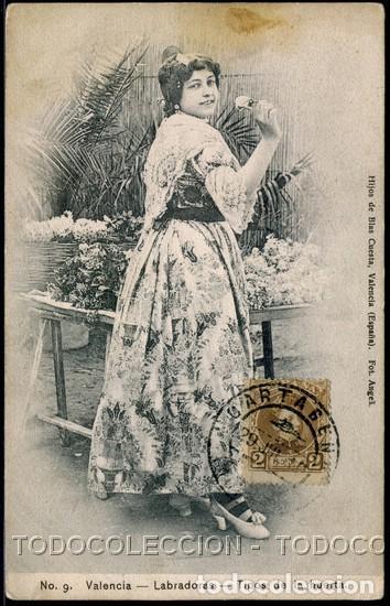 POSTAL VALENCIA LABRADORAS TIPOS DE LA HUERTA . HIJOS DE BLAS CUESTA CA AÑO 1910 (Postales - España - Comunidad Valenciana Antigua (hasta 1939))