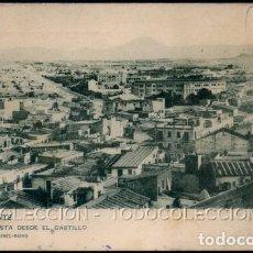 Postales: POSTAL ALICANTE VISTA DESDE EL CASTILLO . VERSION DISTINTA DE LA 498 HAUSER Y MENET . CA AÑO 1900. Lote 115124931