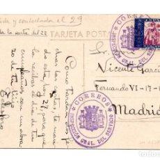 Postales: VALENCIA.- PLAZA DE EMILIO CASTELAR.1936 GUERRA CIVIL FRANQUEO SELLO BENEFICENCIA CON RARA CENSURA. Lote 115341111