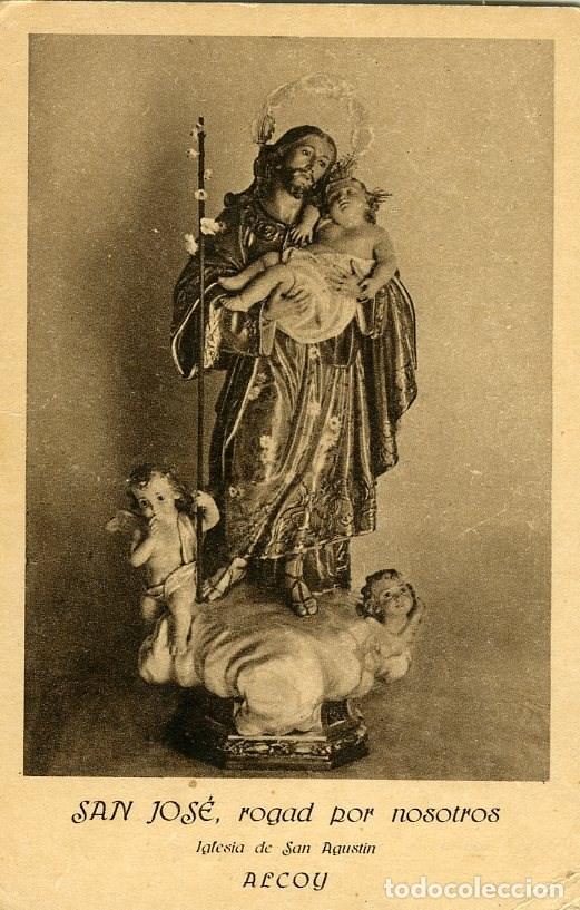 ALCOY. FELICITACIÓN JOSEFINA EN IGLESIA DE SAN AGUSTÍN, AÑO 1927. DORSO IMPRESO CON EL PROGRAMA..... (Postales - España - Comunidad Valenciana Antigua (hasta 1939))