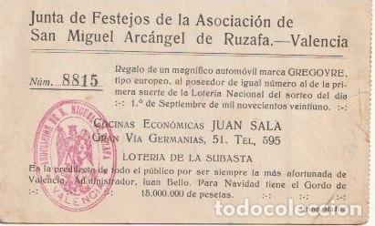 Postales: RUZAFA VALENCIA POBLADO DE SAN LUIS SORTEO FIESTAS SAN MIGUEL ARCANGEL GRAFOS MADRID - -C-50 - Foto 2 - 117999499