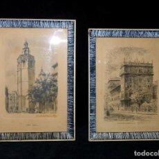 Postales: LOTE DE 2 POSTALES ENMARCADAS. MONUMENTOS VALENCIA. FURIO Y CABEDO. AÑOS 50. VINTAGE. Lote 121180467