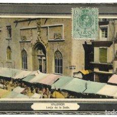 Postales: 1911 POSTAL VALENCIA LONJA DE LA SEDA. CIRCULADA. Lote 122940011