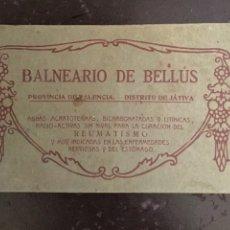 Postales: BALNEARIO BELLUS. JÁTIVA.. Lote 125119284