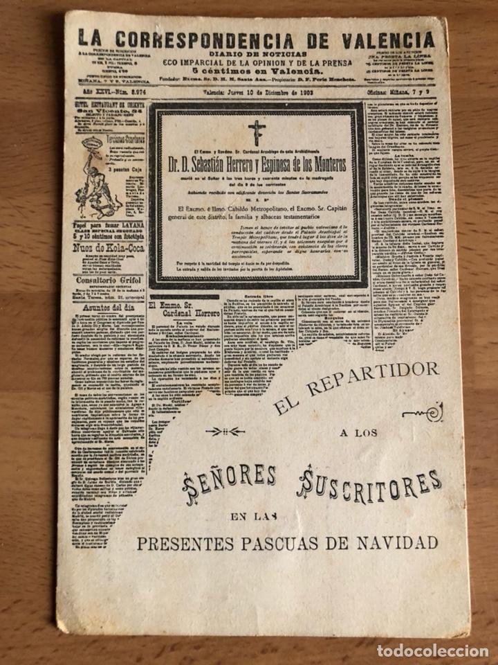 ANTIGUA POSTAL LA CORRESPONDENCIA DE VALENCIA.DIARIO DE NOTICIAS 1903.EL REPARTIDOR (Postales - España - Comunidad Valenciana Antigua (hasta 1939))