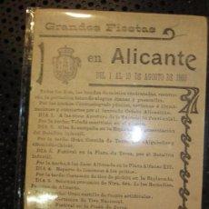 Postales: GRANDES FIESTAS EN ALICANTE 1903 DEL 1 AL 10 AGOSTO VISTA BALNEARIOS POSTIGUET. Lote 127582983