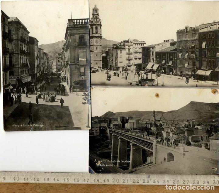 ALCOY ALACANT CARTAGENA PUBLICIDAD RARO CONJUNTO 3 POSTALES FOTOGRAFICAS (Postales - España - Comunidad Valenciana Antigua (hasta 1939))