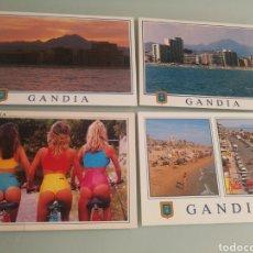 Postales: LOTE DE 4 POSTALES DE GANDIA. Lote 128093963