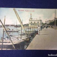 Postales: POSTAL ANTIGUA ALICANTE MUELLE DE COSTA ED THOMAS COLOREADA NO ESCRITA NI CIRCULADA. Lote 128866339