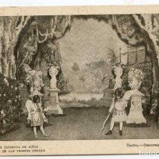 Postales: VALENCIA COLEGIO IMPERIAL DE NIÑOS HUÉRFANOS DE SAN VICENTE FERRER. TEATRO DECORACIÓN JARDIN. Lote 131103764