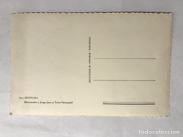 Postales: NOVELDA (Alicante) Postal. Monumento a Jorge Juan y Torre Parroquial. Edita: ediciones Arribas - Foto 2 - 133288783