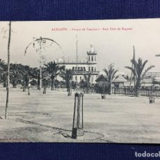 Postales: ALICANTE POSTAL PARQUE DE CANALEJAS REAL CLUB REGATAS 1912 INSCRITA CIRCULADA CABALLERIA COMANDANTE. Lote 134935674