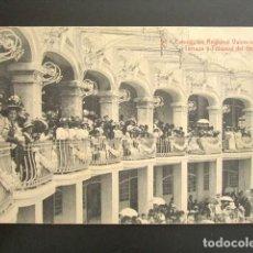 Postales: POSTAL VALENCIA. EXPOSICIÓN REGIONAL VALENCIANA. TERRAZA Y TRIBUNAS DEL GRAN CASINO. . Lote 138091658