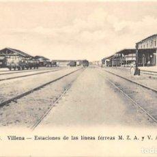 Postales: VILLENA (ALICANTE).- ESTACIONES DE LAS LÍNEAS FERREAS M.Z.A. Y V.A.Y. Lote 140374162