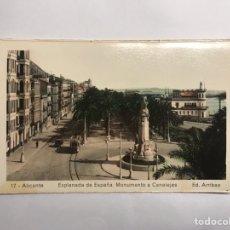Postales: ALÍCANTE. POSTAL NO.17, PLAZA DE ESPAÑA. MONUMENTO A CANALEJAS. EDITA: EDICIONES ARRIBAS (H.1950?). Lote 142824997